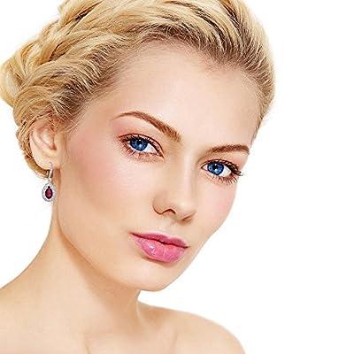 Teardrop Earrings for Women - 14k White Gold Plated Bridal Pear Shape Cubic Zirconia Rhinestone CZ Fish Hoop Earrings for Wedding Party Prom Fashion Jewelry