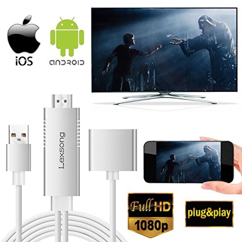 Iphone Video Output Cable - Lexsong Lightning to HDMI Cable USB to HDMI Adapter&3.5mm Audio Port 1080P HDTV Cable for Android, IOS(Lightning/Micro USB/Type-C)