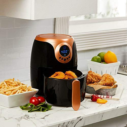 Amazon.com: Copper Chef 2 QT Black and Copper Air Fryer - Turbo Cyclonic Airfryer With Rapid Air Technology For Less Oil-Less Cooking.