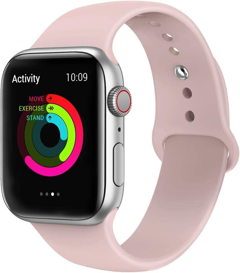 VIKATech Correa de Repuesto Compatible con Apple Watch de 40 mm 38 mm, Correa de Silicona Suave de Repuesto para iWatch Series 4/3/2/1, S/M, Pinksand
