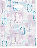 Practicon 1109665 Scatter Print Tooth Outline Bags, 9'' x 12'' (Pack of 100)