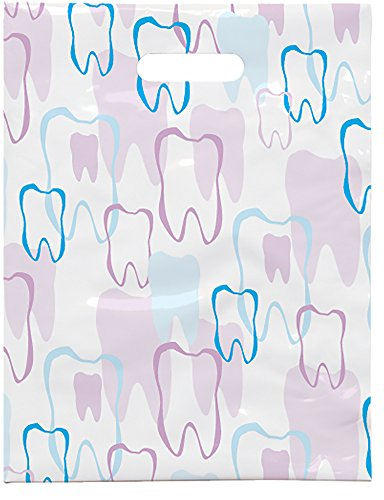 """Practicon 1109664 Scatter Print Tooth Outline Bags, 8"""" x 10"""" (Pack of 100)"""