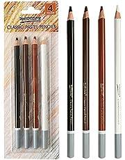 مجموعة أقلام تلوين الفحم الاحترافية، 4 أقلام رصاص بلون الفحم الفحمي وأقلام رصاص ملونة بلون البشرة الداكنة للرسم والرسم والتظليل والتلوين وطبقات ومزج للمبتدئين والفنانين