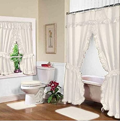 White Double Swag Shower And Window Curtain Set With Liner