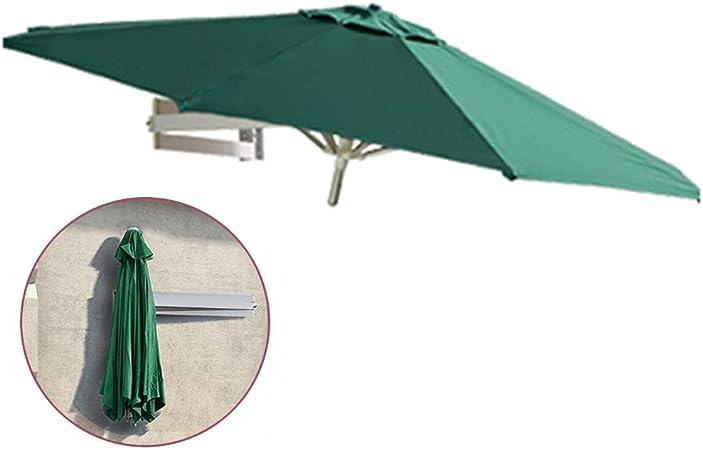 ZAQI Parasol Jardin Sombrillas Terraza Playa Sombrillas Montadas en La Pared, Green Garden Deck Market, Cabañas de Playa, Sombrilla Redonda, Toldo con 8 Costillas de Aluminio y Brazo Telescópico: Amazon.es: Hogar