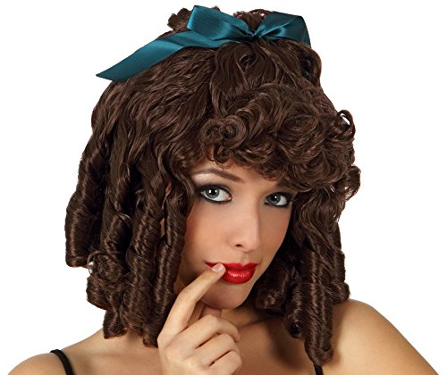 Fancy Dress Hair Wig - Ringlets With Ribbon (brown)