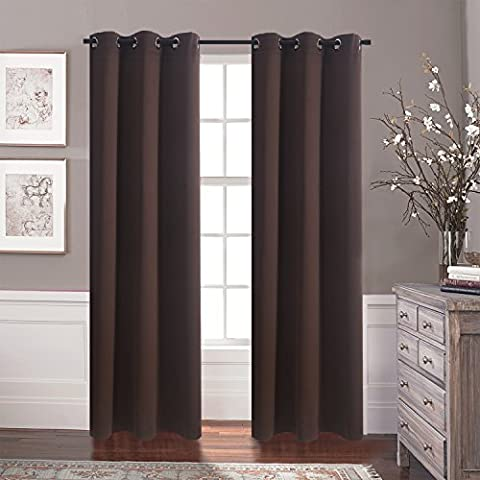 Blackout Curtains Window Drapes - Aquazolax Blackout Drapery Solid Curtains 42