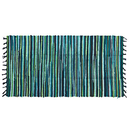 Ojia Cotton Reversible Rag Rug Hand Woven Multi Color Striped Chindi Area Rug Entryway for Laundry Room Kitchen Bathroom Bedroom Dorm (2' x 3', Green)
