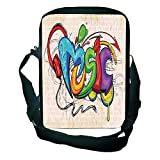 Pictures Print Design One Shoulder Small Satchel Music Decor,Illustration of Graffiti Style Music Lettering Headphones Hip Hop Rhythm Tempo Hipster Concept,Multi for Students,Comfortable Design,9.4''×6
