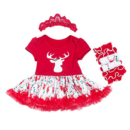 Slowera 3PCS Sets Baby Girls Christmas Outfits Clothes (6-9 Months, Red reindeer)