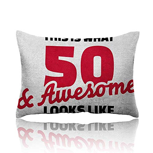 - Anyangeight 50th Birthday Mini Pillowcase Fifty and Awesome Cool and Fun Hand Written Style Happy Cheer Slogan Fun Pillowcase 13