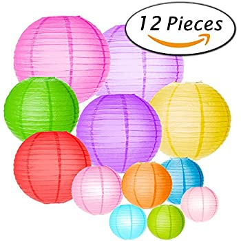 Paxcoo 12 Pack Paper Lanterns with Assorted Colors and Sizes