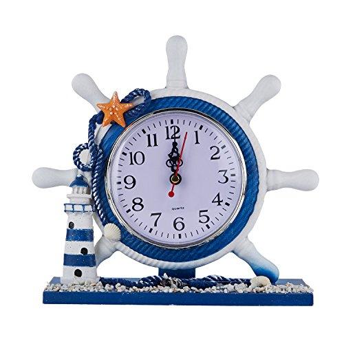 Sanmersen Desk Clock Creative Classic Vintage BedsideTable Desktop Clock 9 Inch Antique Nautical Steering Wheel Helm Clock With Lighthouse Decoration