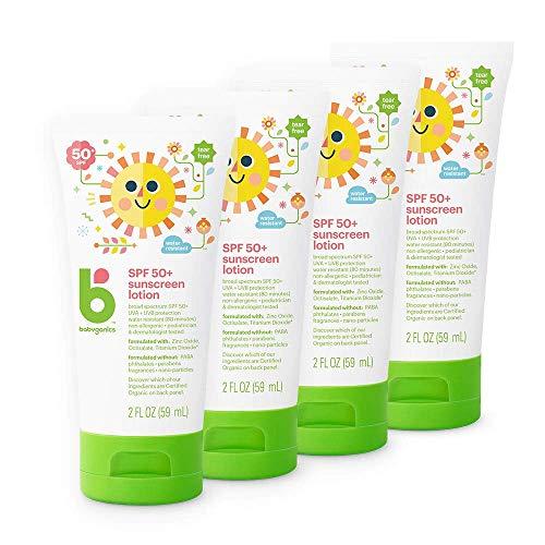 Babyganics Sunscreen Lotion 50 SPF, 2oz, 4 Pack, Packaging May Vary (Travel Baby Sunscreen)