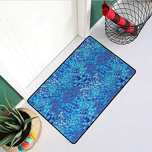 - Gloria Johnson Aqua Inlet Outdoor Door mat Animal Pattern Inspired by Tropical Fish Skin Scales Hand Drawn Style Spotty Catch dust Snow and mud W23.6 x L35.4 Inch Violet Blue Aqua