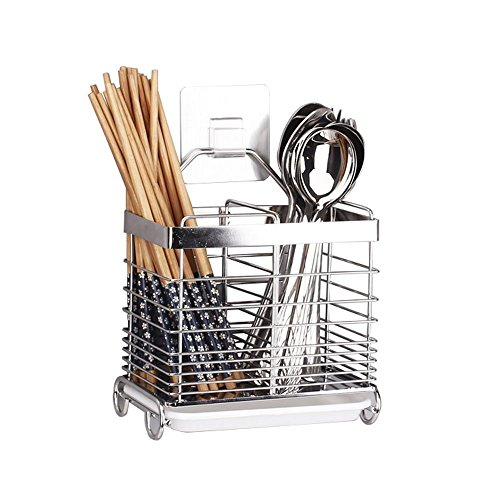 Stainless Steel Hanging 2 Compartments Mesh Utensil Drying Rack/ Chopsticks/Spoon/Fork/Knife Drain Basket/ Tableware Dinner Service Holder/ Cutlery Organizer Caddy/ Flatware Storage Drainer,Square (Stainless Steel Cutlery Basket)