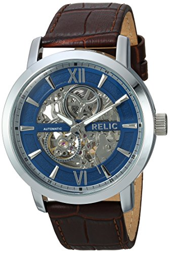 Relic Men's 'Bryson' Quartz Metal and Leather Casual Watch, Color:Brown (Model: ZR77285)