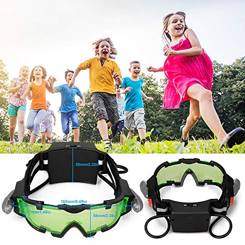 7d4cb86aa AGM Kid Night Vision Goggles, Adjustable Night Goggles with Flip-Out Lights  Green Lens