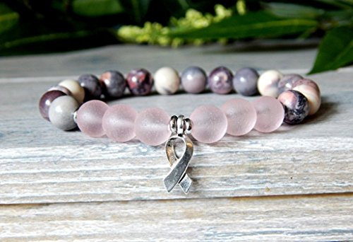 (Survivor Pink Beaded Bracelet Breast Cancer Awareness Ribbon Inspirational Gift Jewelry)