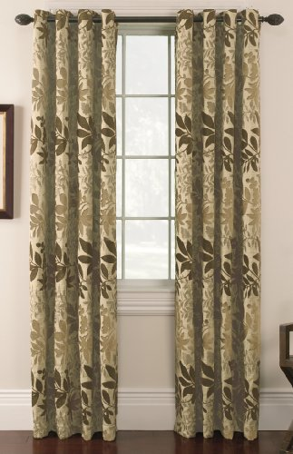 Thermatec Bristol Chenille Leaf Panel, 54-Inch by 84-Inch, Taupe