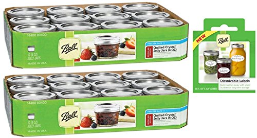Canning Jar Bundle 3 Items = 2 Packs Ball 4-Ounce Quilted Crystal Jelly Jars with Lids and Bands, Set of 12 (Total 24 Jars) + Dissolvable Labels (Set Of - Crystal Quilted Ball Jelly
