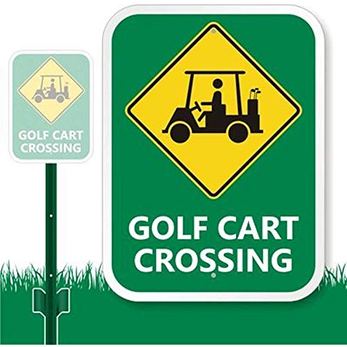 "Diuangfoong Golf Carts Crossing with Graphic Sign 12"" X 18"""