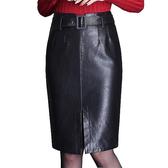 DISSA D1793 - Falda de tulipán para Mujer, Piel sintética Negro 34 ...