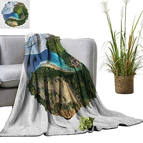 Superlucky Earth Warm Microfiber All Season Blanket Conceptual Globe Diverse Natural Landscapes ICY Frozen Green and Barren Places 50