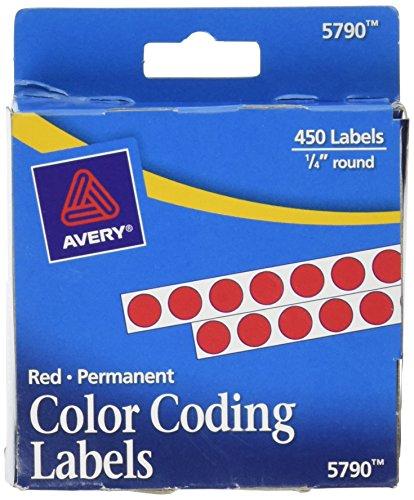 Etiquetas de codificación de colores permanentes de Avery, 0.25 pulgadas, redondas, paquete de 450 (5790)