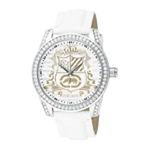 Marc Ecko The Face-off White Leather Crest Dial Men's Watch #E09504G2