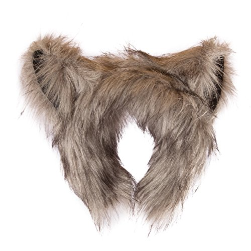 Wildlife Tree Plush Wolf Ears Headband Accessory for Wolf Costume, Cosplay, Pretend Animal Play or Forest Animal Costumes