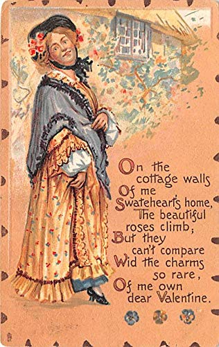 Valentines Day Post Card Old Vintage Antique Raphael Tuck & Sons Leatherette Series 1910