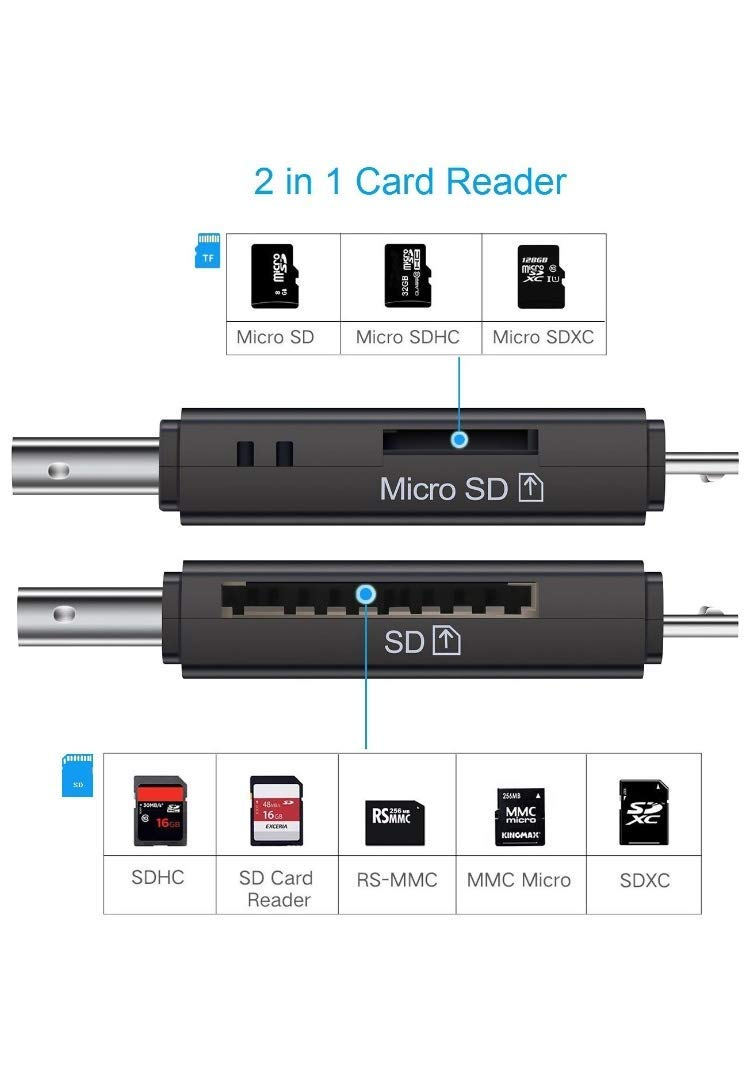 GETDL SD/Micro SD Card Reader, Micro USB OTG Adapter and USB 2.0 Portable Memory Card Reader for SDXC, SDHC, SD, MMC, RS-MMC, Micro SDXC, Micro SD, Micro SDHC Card and UHS-I Cards