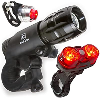 LED Lights For Bikes - Helmet Light - Quick Release Mounts - Best Flashing Front and Back Tail Light Set - Safest Super Bright Headlight Torch and Rear Cycling Kit for All Bicycles