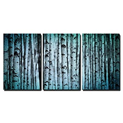 3 Piece Canvas Wall Art - Trunks of Birch Trees in Black and White - Modern Home Art Stretched and Framed Ready to Hang - 16