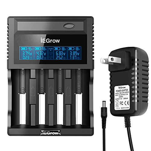 iEGrow ZL440C 4-Bay Smart Battery Charger with LCD Display for 26650, 18650, 18500, 18350, 17670, 17500, 16340, 14500, 10440 3.7V Lithium Batteries and 1.2V Ni-MH and Ni-Cd A/AA/AAA Batteries