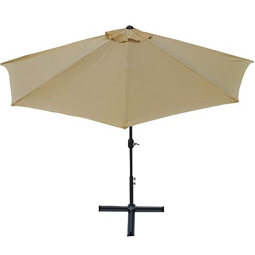 3M Patio Half Umbrella Wall Balcony Sun Shade Garden Outdoor Parasol 38mm  Aluminium Pole  Beige
