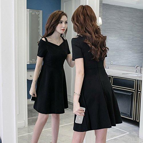 Femme Robe Robes Jupe Longueur Noire XL Black Le minimalisme de no Suspension la bandoulire Jupe l'paule Petite MiGMV q7w5PgIW
