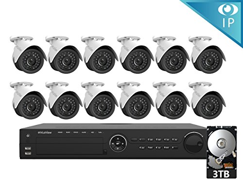 LaView 12 1080P IP Camera Security System, 16 Channel 1080P IP PoE NVR w/3TB HDD and 12 1080P 2MP White Bullet Surveillance Camera - Ip Servers Dynamic