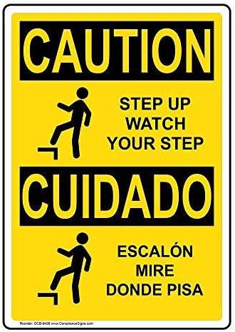 OSHA Paution Step Up Watch Your Step - Pegatina de Vinilo con Texto en inglés y símbolo, diseño de Escalón Mire Donde Pisa con Texto en inglés y español, Color Amarillo, 25,4