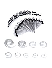 BodyJ4You Gauges Kit Glitter Spiral Tapers and Plugs 14G-00G Stretching Kit - 54 Pieces