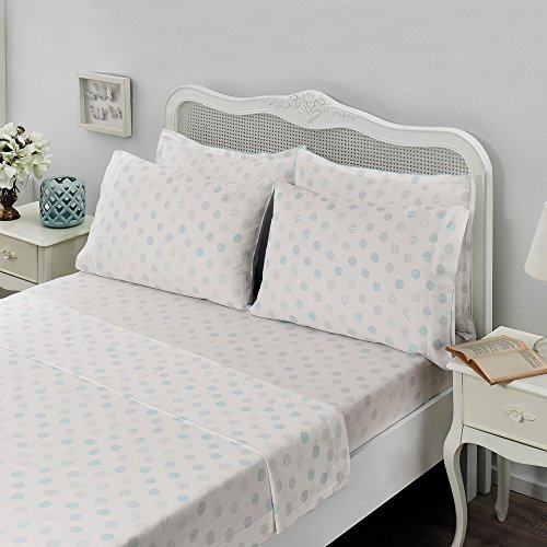Brielle  Light Blue Circlets, 100% Cotton Sheet Set, 6 Piece Set, Full ()