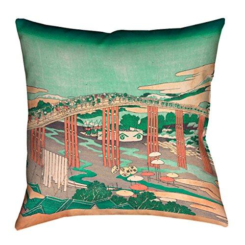 ArtVerse Katsushika Hokusai Throw Pillow with Japanese Bridg