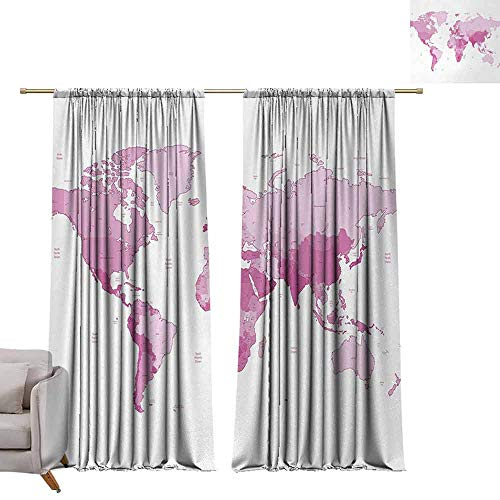 (berrly Thermal Insulated Blackout Curtains Light Pink,Cute World Map Continents Island Land Pacific Atlas Europe America Africa,White Pale Pink W84 x L84 Thermal Insulated Room Darkening Window Shade)