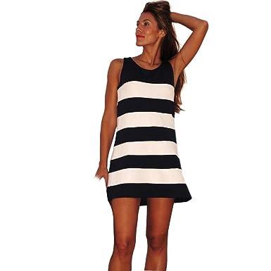 5f2a437169847d kleid Damen Kolylong Frau Streifen Muster Ärmellos Minikleid  Amazon ...
