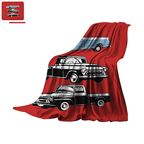 Truck Digital Printing Blanket Vintage Pickup Vehicle Designs on Abstract Ruby Background Inner City Transport Oversized Travel Throw Cover Blanket 60