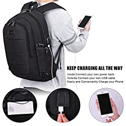 Travel Laptop Backpack Water Resistant Anti-Theft Bag with USB Charging Port and Lock 14/15.6 Inch Computer Business… Backpacks