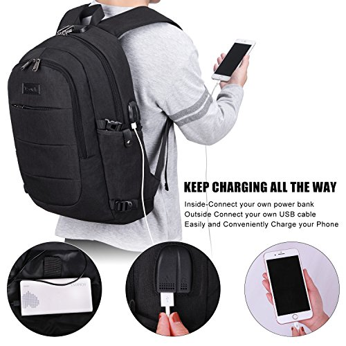 Tzowla Business Laptop Backpack Water Resistant Anti-Theft College Backpack with USB Charging Port and Lock 15.6 Inch Computer Backpacks for Women Men, Casual Hiking Travel Daypack (Black) by Tzowla (Image #2)