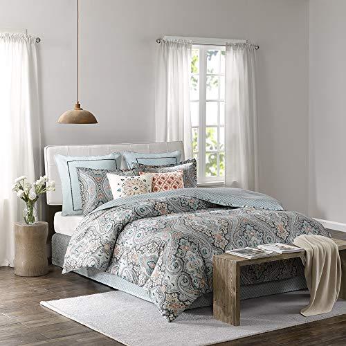 Echo Design Sterling Queen Size Bed Comforter Set - Teal Green, Damask - 4 Pieces Bedding Sets - Cotton Bedroom Comforters