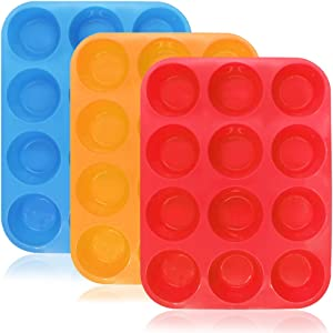 12-Cup Silicone Muffin & Cupcake Baking Pan, YuCool 3 Pack Silicone Molds for Muffin Tins, Cakes Microwave Oven Safe (Orange, Red, Blue)